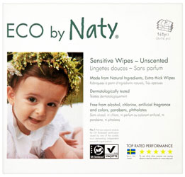 Naty Sensitive Unscented Baby Wipes, 3 x 56 pack = 168 wipes