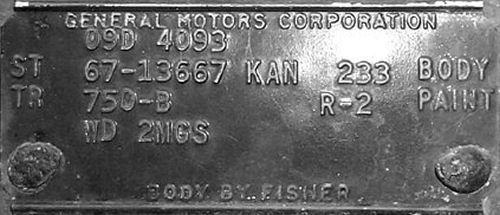 1967 Chevelle Kansas City Trim Tags