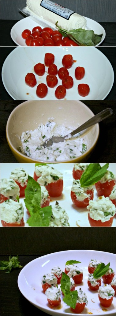 Basil Goat Cheese Stuffed Cherry Tomatoes