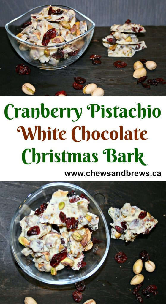 Cranberry Pistachio White Chocolate Bark