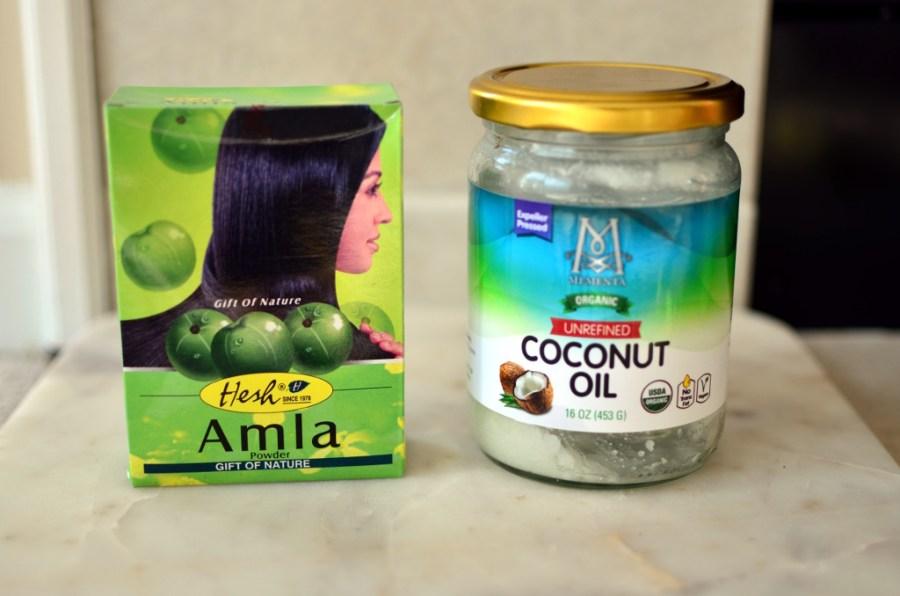 Amla powder and coconut oil