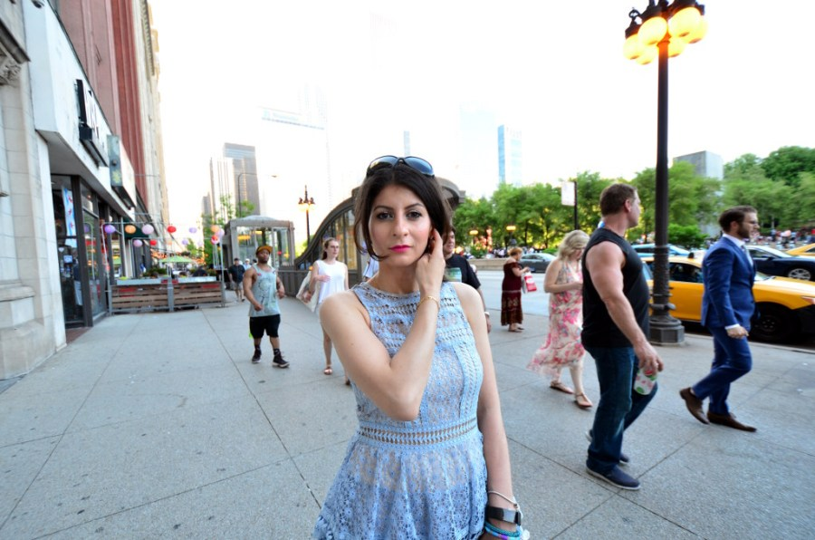 not your average everyday dress-baby Blue lace dress with Betsey Johnson shoes