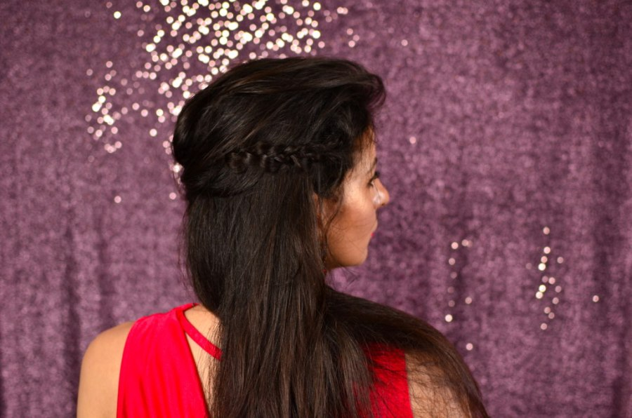Braided half up half down hairstyle
