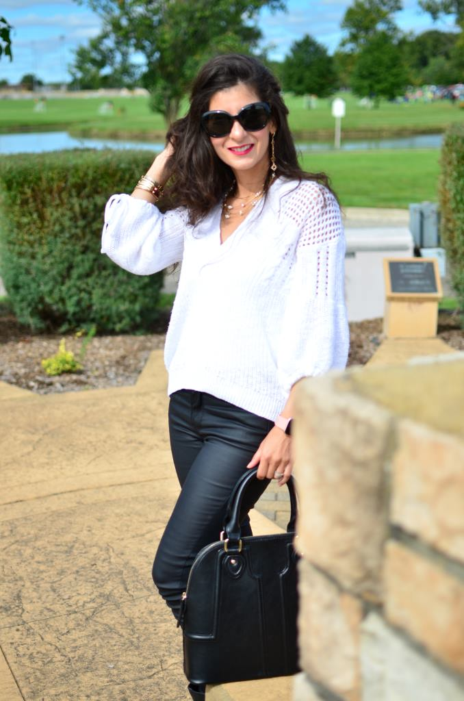 ff3edaf230be66 What to wear with faux leather pants this fall - Faux leather outfit ...
