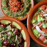 Mutabbal & Tomato, Cucumber, New Onion Salad.