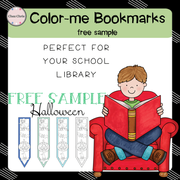 Reading books: 12 Color-me bookmarks (Halloween) – FREE SAMPLE