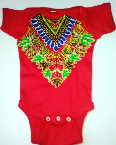 Red Dashiki Onesie
