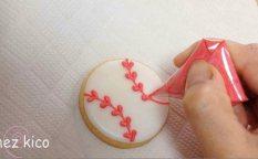 野球ボールのアイシングクッキーの作りかた baseball cookie