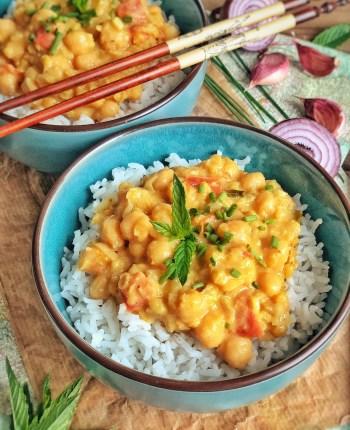 Curry veggie au lait de coco et riz basmati