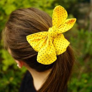 Bandeau vintage jaune à pois
