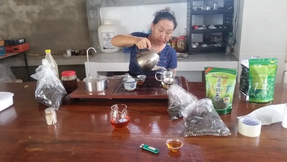Woman pouring tea