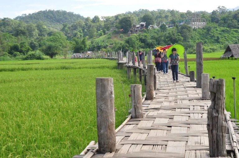People on a bamboo bridge Things to do Mae Hong Son Attractions