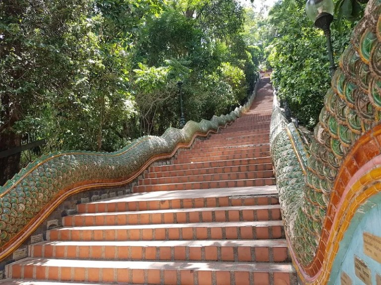 Naga Stairway with dragons Buddhist temples