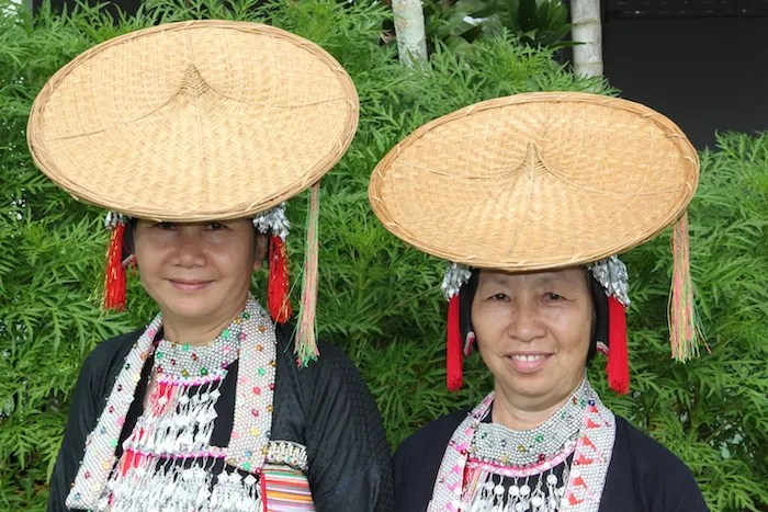 Two women with bamboo hats People of North Thailand