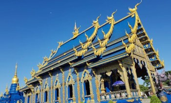 Blue temple against Blue Sky Chiang Rai temples