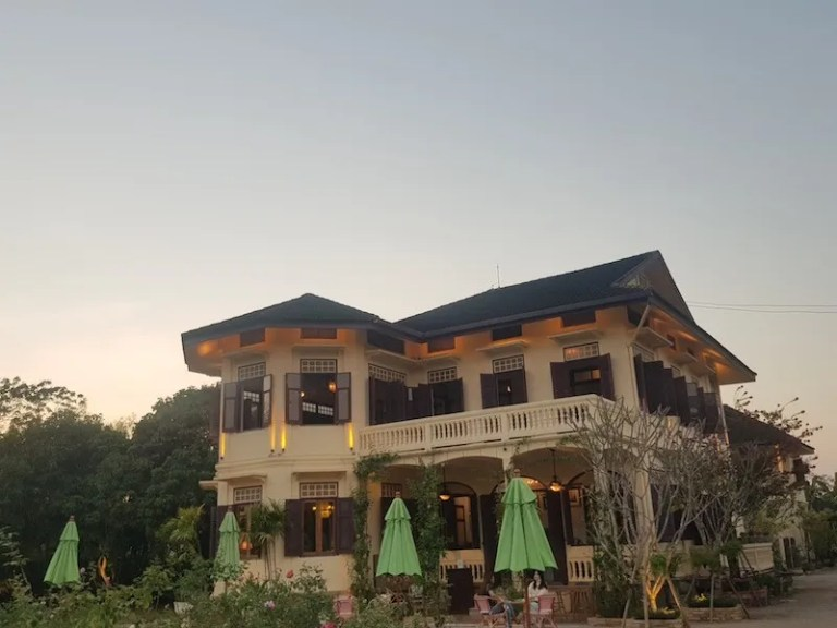 Colonial house around sunset