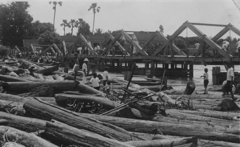 Wooden bridge with logs Chiang Mai Timeline