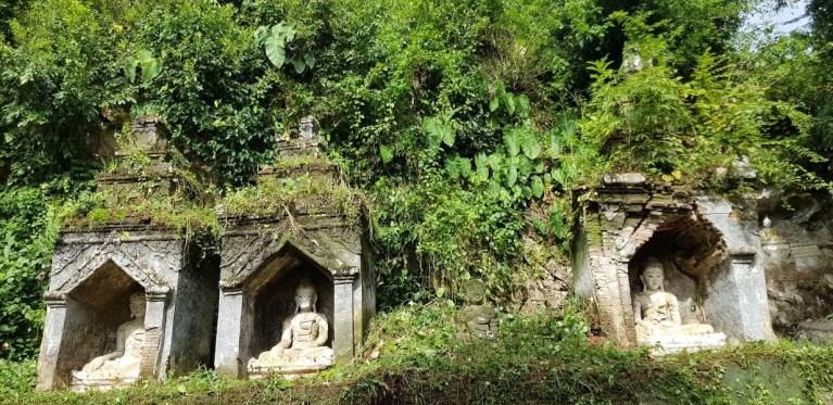 Three shrines with Buddha images