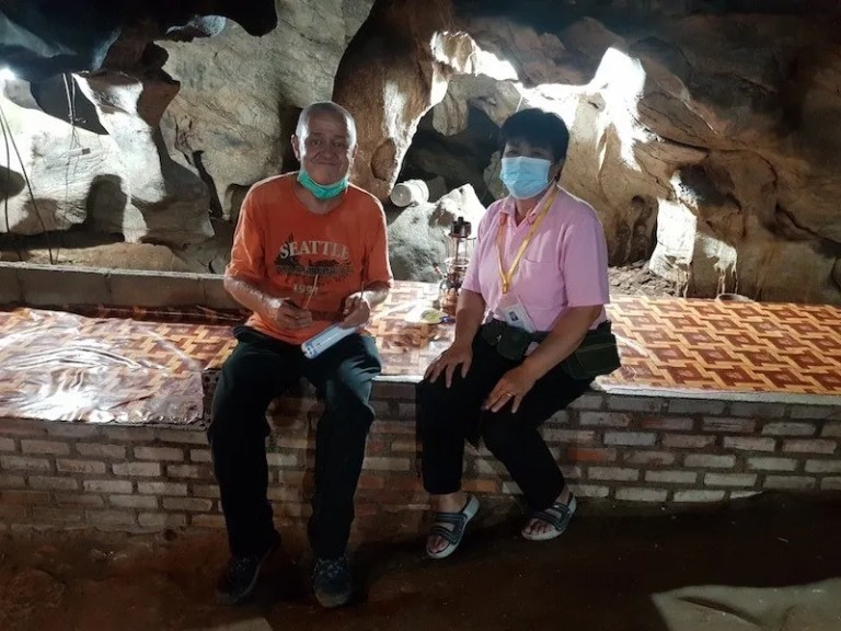 Tourist and guide Chiang Dao Cave