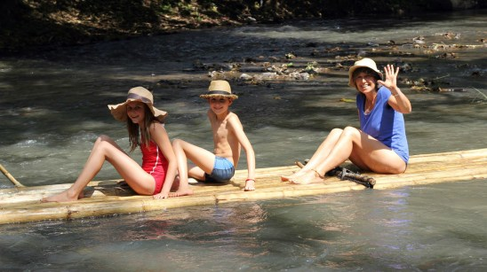 Family bamboo rafting