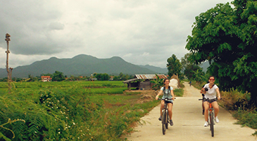 Cycling in the rural area of Mae Wang