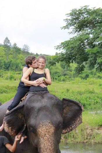 Romantic elephant ride