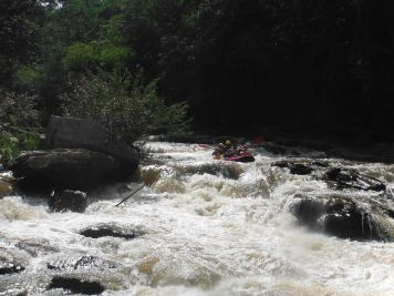 At the top of the river rapids