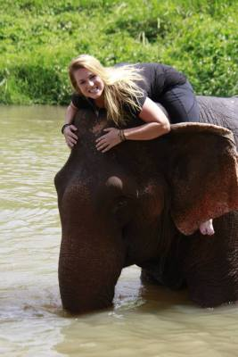 Riding an elephant in the river