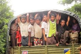 Military trucks sometimes were used to transport the Rohingya migrants