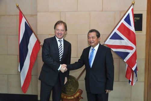 H.E. Mr. Jullapong Nonsrichai, Vice Minister for Foreign Affairs of Thailand, and the Right Honourable Hugo Swire, UK Minister of State for Foreign and Commonwealth Affairs in the UK.