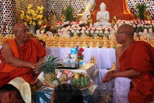 Sayadaw Badanna Kawnanya, right, the newly appointed abbot of the Wat Sai Moon monastery, sits with Sayadaw Ashin Nyanissara on Tuesday in Chiang Mai, Thailand