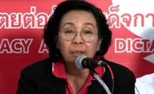 """Thida Thavornseth, chairwoman of the United Front for Democracy Against Dictatorship, the principal Red Shirt organization of Thaksin supporters, warns of """"civil war"""" if the election result is not honored soon."""