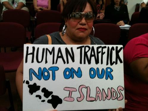An anti-human trafficking advocate attends a hearing at the Hawaii Capitol.