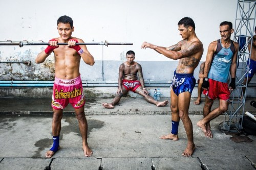 Muay Thai training at Klong Prem prison in Bangkok, Thailand. The inmates are part of a program that pits prisoners against foreign Muay Thai fighters for a chance of reduced sentencing or early release.