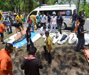 13 people died at the scene, while two more victims died at hospital, medical workers say, adding that the dead include an official from the Department of Forestry, and the pick-up truck's driver, while the rest was members of the local hill tribes