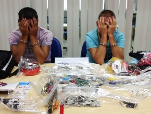 "Two Bulgarian men were arrested last night (November 4) when they went to retrieve sophisticated ""skimming"" equipment they had installed in an ATM - See more at: http://www.thephuketnews.com/two-arrested-for-skimming-phuket-atm-34301.php#sthash.V8iU7wlY.dpuf"