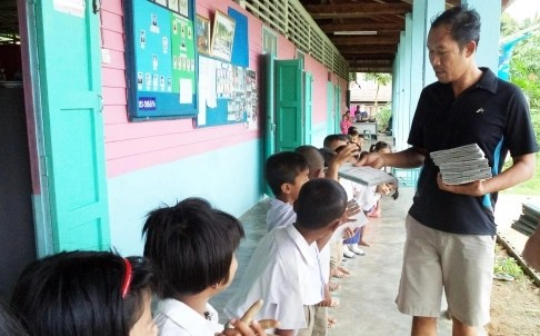 Samadthachai Pungpong and his students at the Borderless School in Ranong province, Thailand.