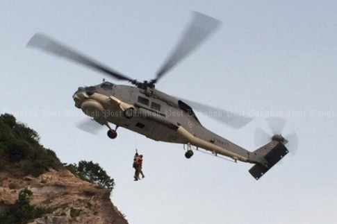 Royal Thai Navy Helicopter Rescues Greek Climber on Koh Larn Island, Pattaya