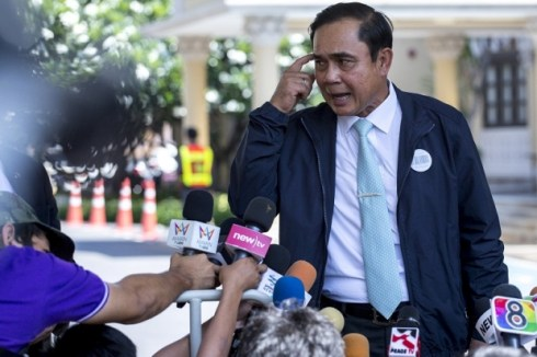 Thailand's Prime Minister Prayuth Chan-ocha answers questions from journalists