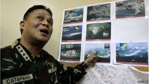 Gen Catapang pointed to recent satellite images appearing to show China was building on reefs
