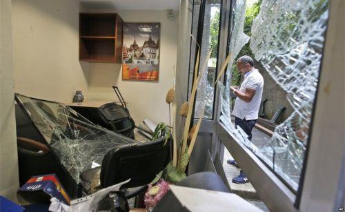 Workers inspected the damage at the Thai consulate in Istanbul