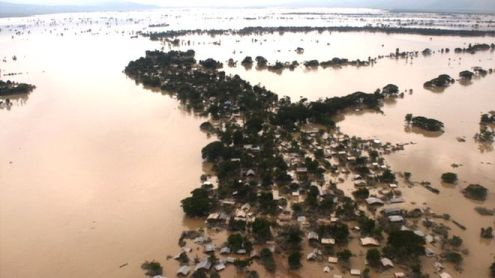 Aerial picture of one of the worst-affected flood areas in Sagaing region