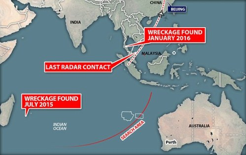 A map showing the fated plane's flight path from Kuala Lumpur to Beijing; where the last radar contact was received from the plane; the wreckage discovered this week in Nakhon Si Thammarat province, Thailand Read more: http://www.dailymail.co.uk/news/article-3413660/Plane-wreckage-washes-Thailand-beach-amid-reports-missing-airliner-MH370.html#ixzz3yAo22JXv Follow us: @MailOnline on Twitter | DailyMail on Facebook