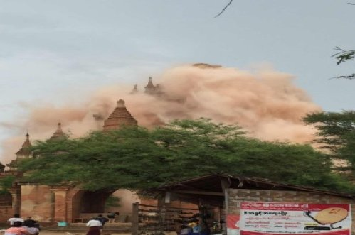 Famous pagodas were damaged as a 6.8 magnitude quake struck the ancient Myanmar city of Bagan