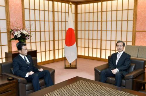 Japanese Foreign Minister Fumio Kishida (L) meets Chinese ambassador to Japan Cheng Yonghua in Tokyo, Japan, in this photo taken by Kyodo Japanese Foreign Minister Fumio Kishida (L) meets Chinese ambassador to Japan Cheng Yonghua in Tokyo, Japan.
