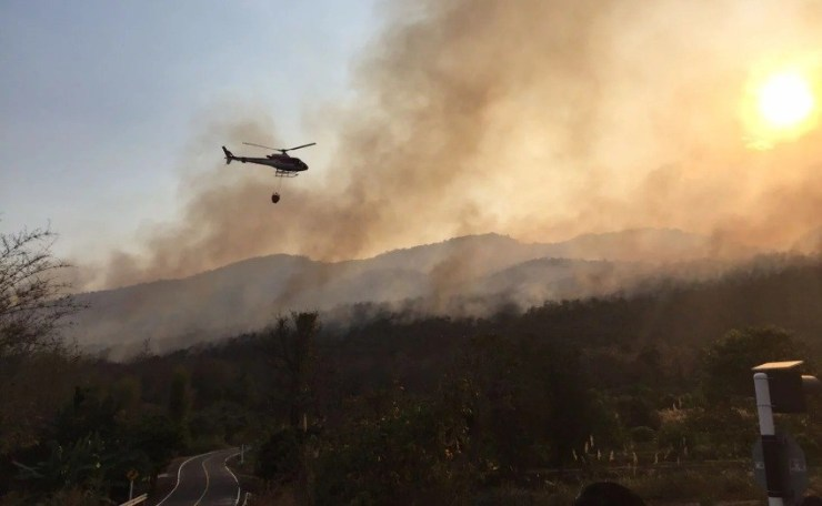 Helicopters fight forest fires