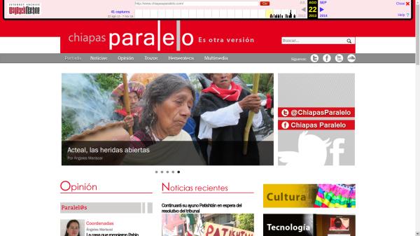 Así era en 2013 Chiapasparalelo. Copia almacenada en Internet Archive.