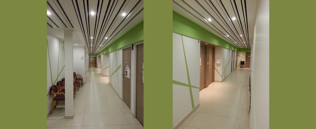 Réalisation d'un décor en panneaux PVC rigide SPM découpé sur mesure (aspect décoratif et protection des murs)