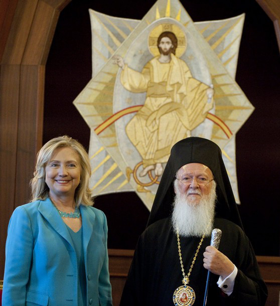 Ecumenical Patriarch Bartholomew (R) and US Secretary of State Hillary Clinton attend meetings at the Patriarchy in Istanbul, on July 16, 2011. The United States is concerned about media freedom and free speech in Turkey amid the arrest of dozens of journalists and Internet restrictions, Secretary of State Hillary Clinton said Saturday. AFP PHOTO / POOL / Saul LOEB (Photo credit should read SAUL LOEB/AFP/Getty Images)