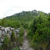 Le sentier longe un vieux mur de pierres.